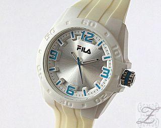 Fila Damen Und Herren Uhr Fa1036 Kunststoff Silikon Weiss Blau Uhren Sportuhren Bild