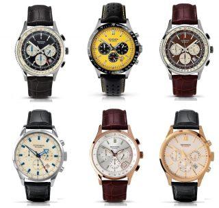 Chronograph Herrenuhr Sportlich Sekonda Armbanduhr Datumsanzeige Lederband Edel Bild