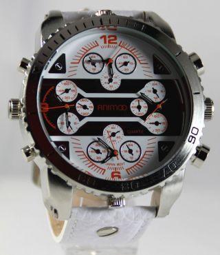 Animoo Schwere Four Time Armbanduhr Leder Herrenuhr 4 Uhrwerke Bild