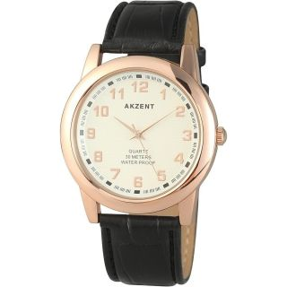Akzent Elegante Herrenuhr Lederimitation Braun Rosé Top Look Bild