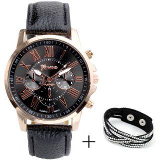 Vintage Quarzuhr Genewa Analog Chrono Leder Armbanduhr Roma Damenuhr Herrenuhr Bild