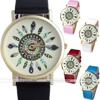 Pu Leder Feder Armbanduhr Quartz Watch Quarzuhr Quartz Quarz Uhr Armband Uhr Bild