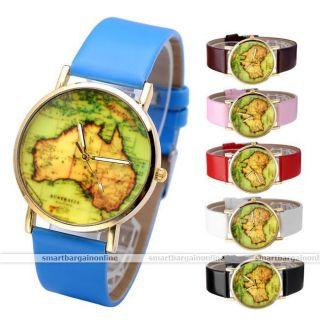Pu Leder Weltkarte Armbanduhr Quartz Watch Quarzuhr Quartz Quarz Uhr Armband Uhr Bild