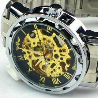 Exklusiv Winner Skelett Herrenuhr Edelstahl Mit Box Uhr Mechanisch Gold - Silber Bild