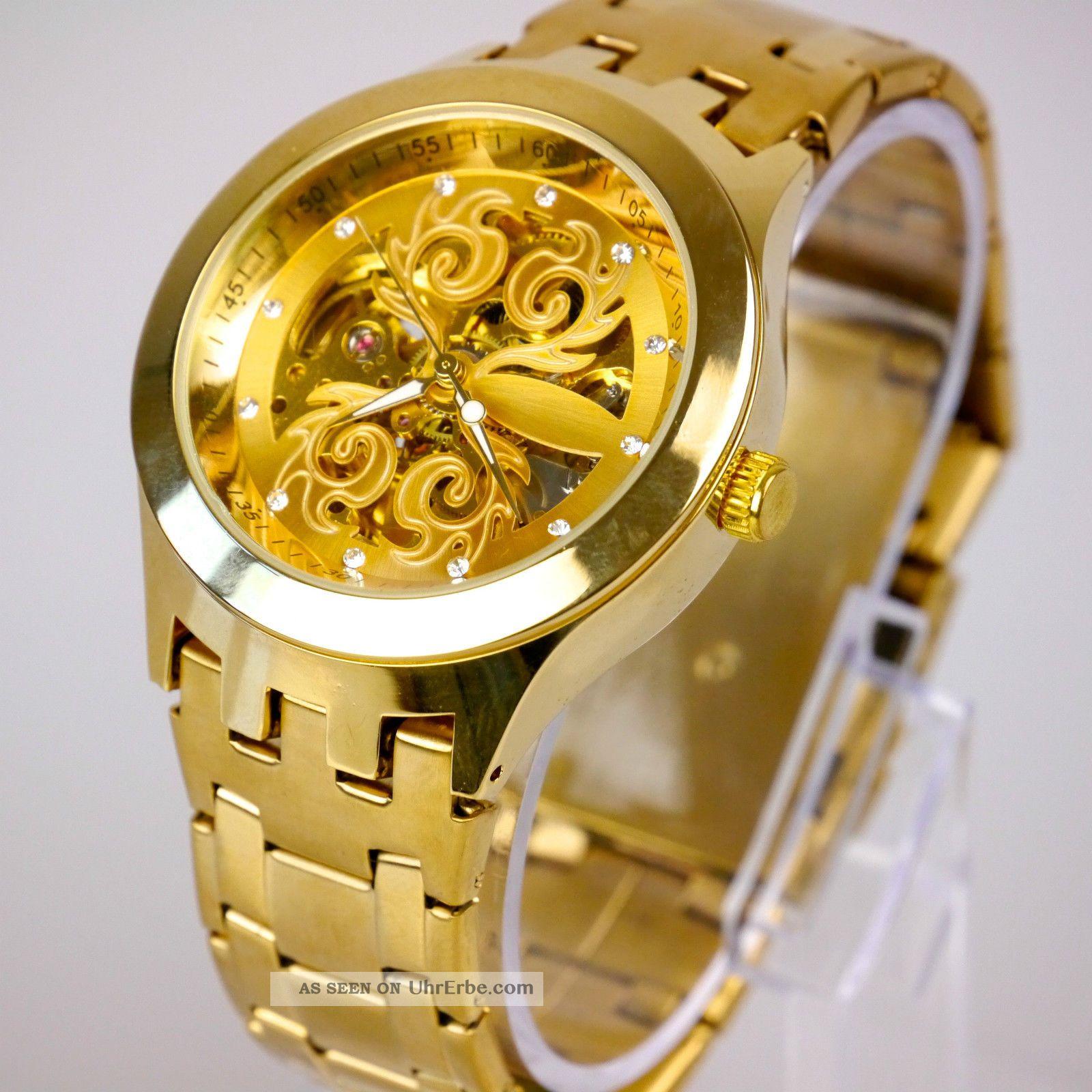 elegante herren vive automatik armband uhr goldene uhrwerk gold uvp 69. Black Bedroom Furniture Sets. Home Design Ideas