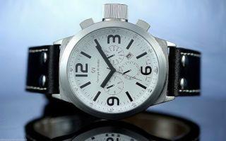 Marineuhr Mit Datum Militäruhr Weiß/silber Ubootuhr Lederband Genietet Schwarz Bild