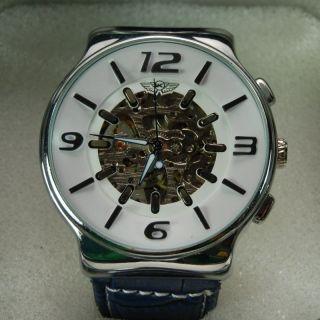 U&k Hau Automatic Armbanduhr Herrenuhr - Chrom Lederarmband Blau - Wie,  Ovp Bild