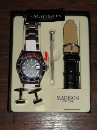 Edle Madison York Herren Armbanduhr,  Manschettenknöpfe Im Geschenkset Bild