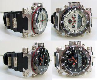 Dual Sportuhr Armbanduhr Wasserdicht - Datum - Alarm - Led Trend - Uhr Groß Bild