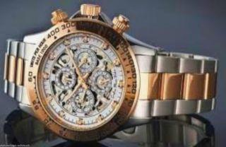 Skelettuhr Automatik Uhr Mechanische Herrenarmband Uhr Edelstahl Rotgoldtimer Bild