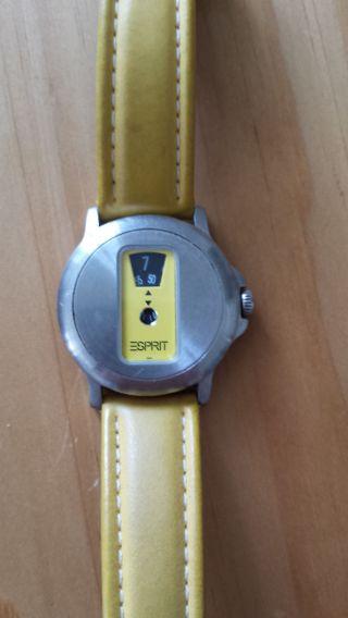 Armbanduhr Esprit M.  Datum Gelbes Lederarmband Retro 80iger Jahre (hingucker) Bild
