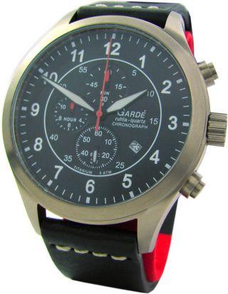 Garde Ruhla Großer Chrono Fliegeruhr Titan Pilot Watch Chronograf Herrenuhr Bild