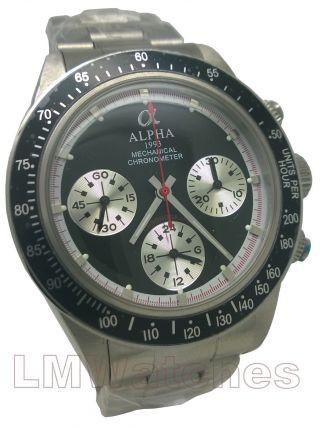 Alpha Uhr Daytona Paul Newman Mechanisch Chronograph Schwarz Gb Bild