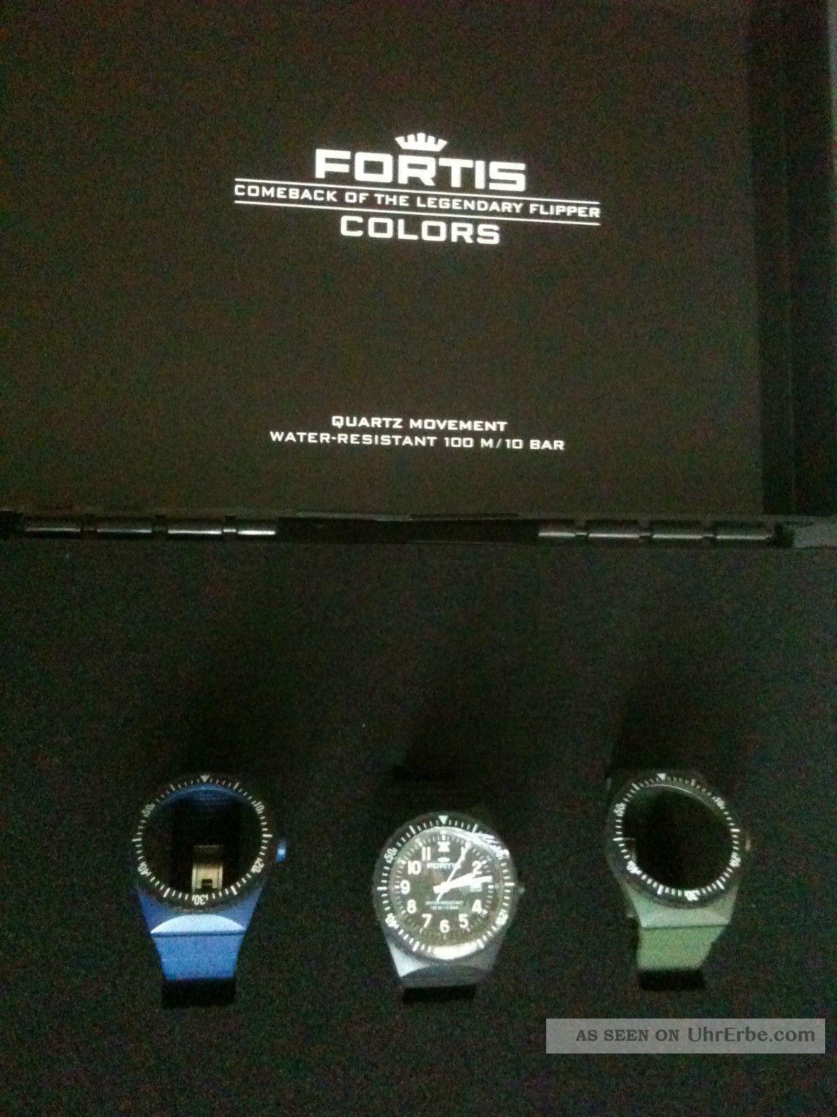 Fortis Colours Koffer,  Mit 3 Armbänder,  1x Fortis Quarzwerk Armbanduhren Bild