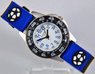 Regent Kinderarmbanduhr Fußball Blau Armbanduhr Mit Stoffband Uhr 7982.  42.  14 Bild