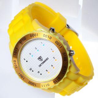 Detomaso Spacy Timeline Unisex Armbanduhr Silikon Binär Gelb Carbon Weiss Bild