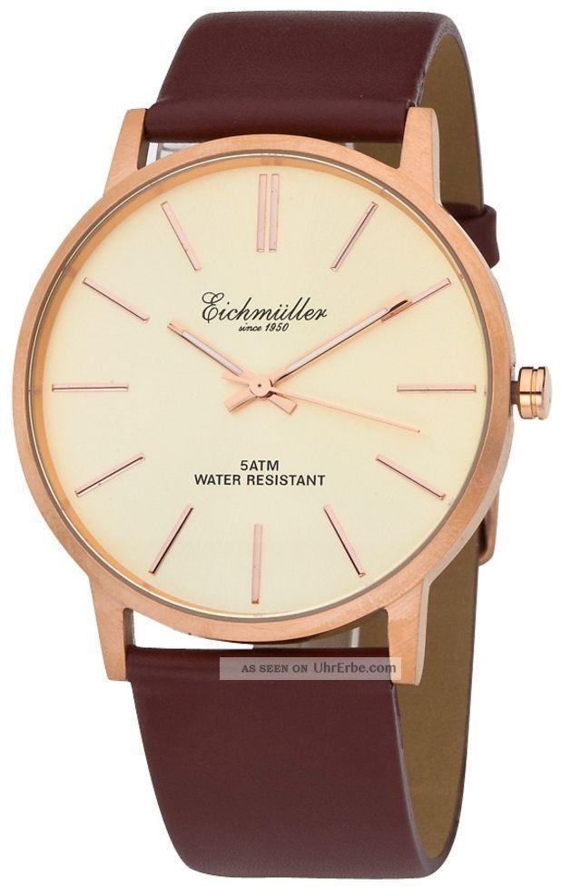 EichmÜller Zeitlose Herrenuhr 3 Zeiger Leder Armband In Rose´ / Bronze Armbanduhren Bild
