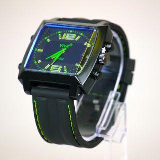 Herren Vive Armbanduhr Hochwertig Schwarz Grün Watch Uhr Weihnachtsgeschenk Bild