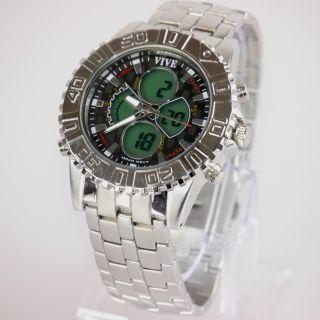 Herren Vive Xxl Armband Uhr Edelstahl Silber Watch Analog Digital Quarz 11 Bild