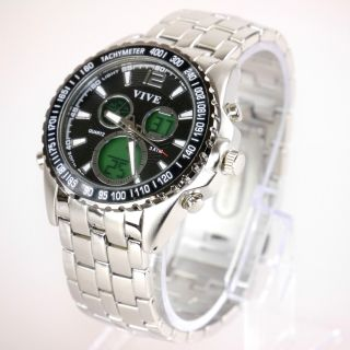 Herren Vive Xl Armband Uhr Edelstahl Silber Watch Analog Digital Quarz 22 Bild