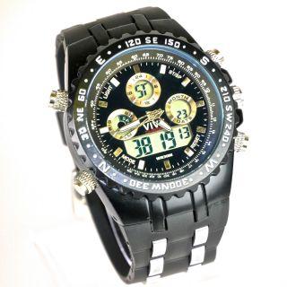 Herren Vive Armband Uhr Hartplastik Schwarz Watch Analog Digital Quarz Bild