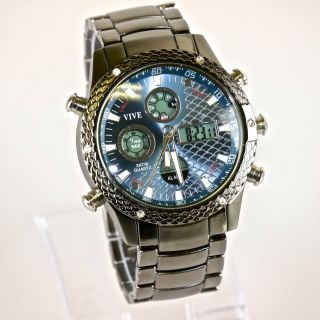 Herren Vive Armband Uhr Edelstahl Massiv Grau Watch Analog Digital Quarz Bild
