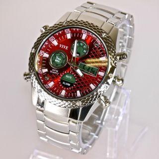 Herren Vive Armband Uhr Edelstahl Massiv Silber Rot Analog Digital Quarz Bild