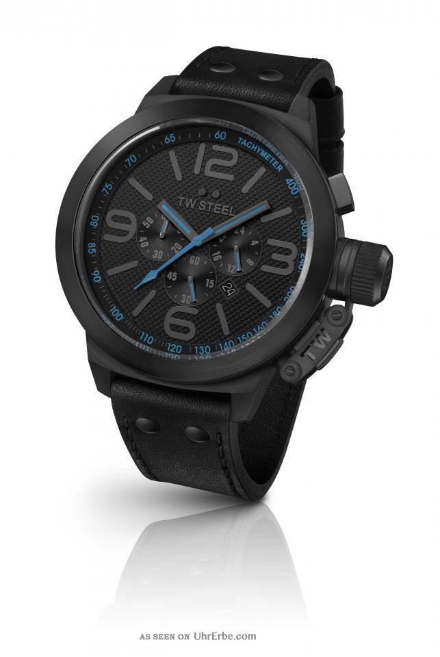 Tw Steel Tw904 Canteen Herren Uhr Xl 45mm Chornograph Schwarz Blau Armbanduhren Bild
