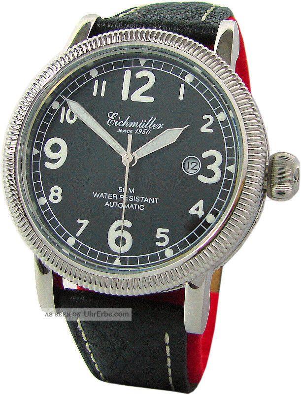 Eichmüller Automatik Edelstahl Armband Uhr Mit Classic Design Pilot Watch Strap Armbanduhren Bild