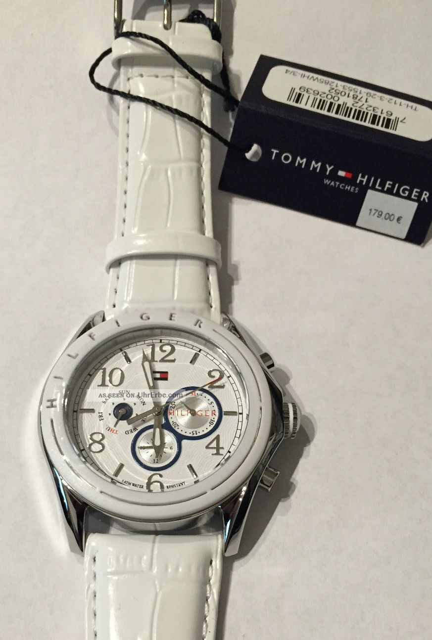 Tommy Hilfiger Damenuhr Edelstahl Lederband Weiß 1781052 Armbanduhren Bild
