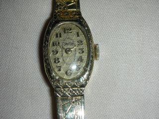 Antike Armbanduhr F.  Damen,  14k Gold,  Analog Antik Erbstück F.  Liebhaber,  Mechan Bild