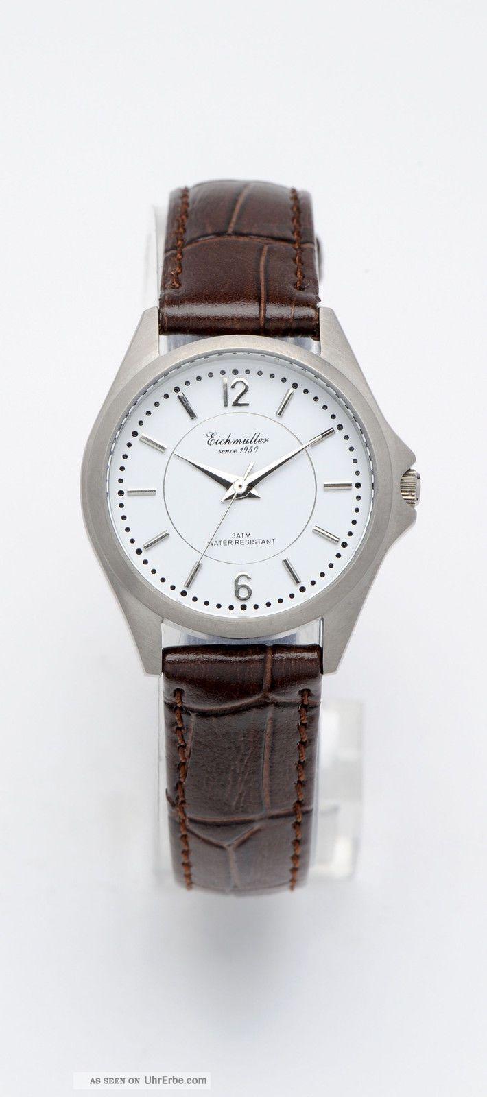 Elegante Eichmüller Titan Damenuhr Braunes Lederband Schlichte Eleganz Armbanduhren Bild