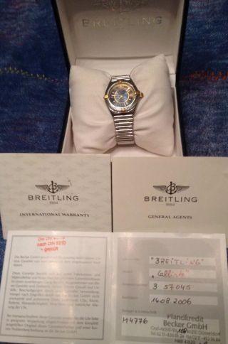 Breitling Callisto B57045 Edelstahl Rouleauxband 4goldreiter Damenuhr Bild