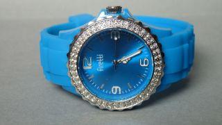 Firetti - Damen Silikon Uhr,  Glaskristallen - Türkis Blau - Wasserdicht - Bild