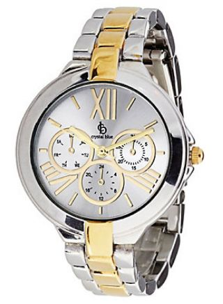 Damenuhr Armbanduhr Bicolor Crystal Blue Metall Farbe Silber - Gold Bild