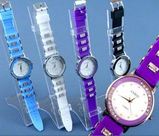 Schicke Damen Silikon Uhren Mit Strass Lünette,  Gummi Uhr,  Strass Armband Bild