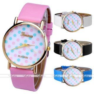 Jy Lässig Pu Leder Blau&pink Polka Dots Gold Gehäuse Quarzuhr Armbanduhr Bild
