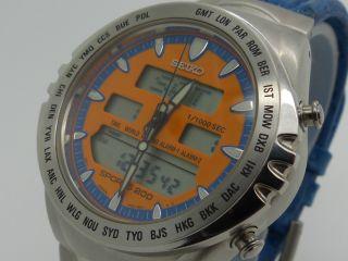 S E I K O Giugiaro Macchina Sportiva H021 - 8030 World Time Mit Rechnung Bild