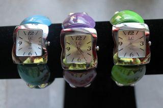 Damen Armreifuhr Armreif Uhr Armbanduhr Silber Perle Dehnbar Wristwatch Bild