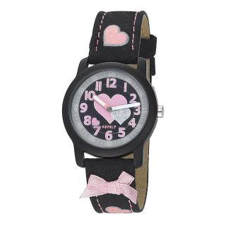 Esprit Kinderuhr Mädchen Armbanduhr Pink Rosa Schwarz Herz Schleife Prinzessin Bild