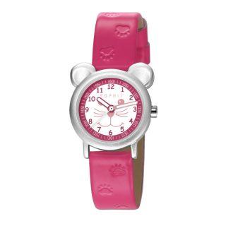 Esprit Kinderuhr Mädchen Armbanduhr Silber Pink Rosa Weiß Katze Mit Ohren Pfoten Bild