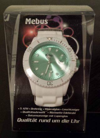 Mebus Silkon Armbanduhr Im Strahlenden Weiß Zifferblatt Stylischer Look Bild