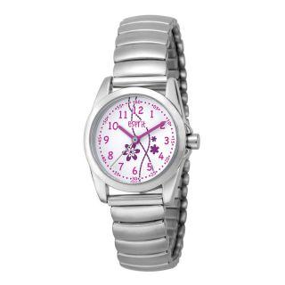 Esprit Mädchen Teen Armbanduhr Silbern Glänzend Mit Flexiblem Armband Weiss Rosa Bild