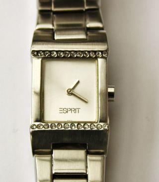 Damenuhr Esprit Edelstahl Armband Weiße Steine Ronda Werk Mit Neue Batterie Top Bild