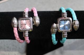 Damen Strick Leder Armband Armbanduhr Uhr Bracelet Quartzuhr Wrist Watch Gift Bild