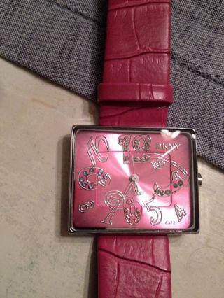 Dkny Damenuhr Mädchenuhr Pink Nur Kurz Getragen Lederarmband Bild