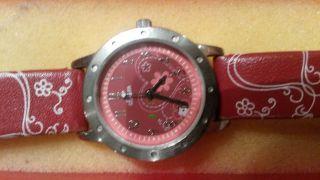 S.  Oliver Armbanduhr Für Mädchen Rot Lederarmband Wie Bild