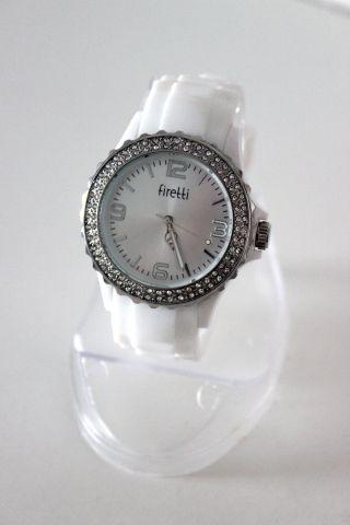 Firetti Designer Elegante Damen Silikon - Armband Uhr Mit Strass - Steinen Weiß Bild