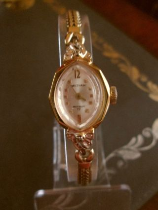 Vintage 50er J.  Swiss Waltham Incabloc Dau Mit Diamantakzenten Handaufzug,  Läuft Bild