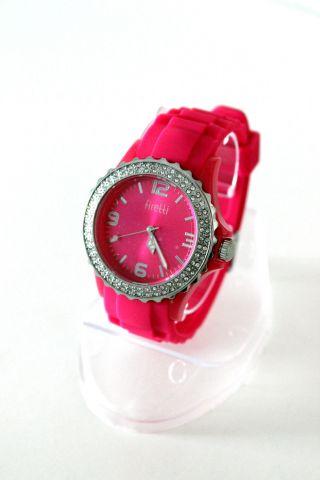 Firetti Designer Elegante Damen Silikon - Armband Uhr Strass - Steinen Fuchsia Bild